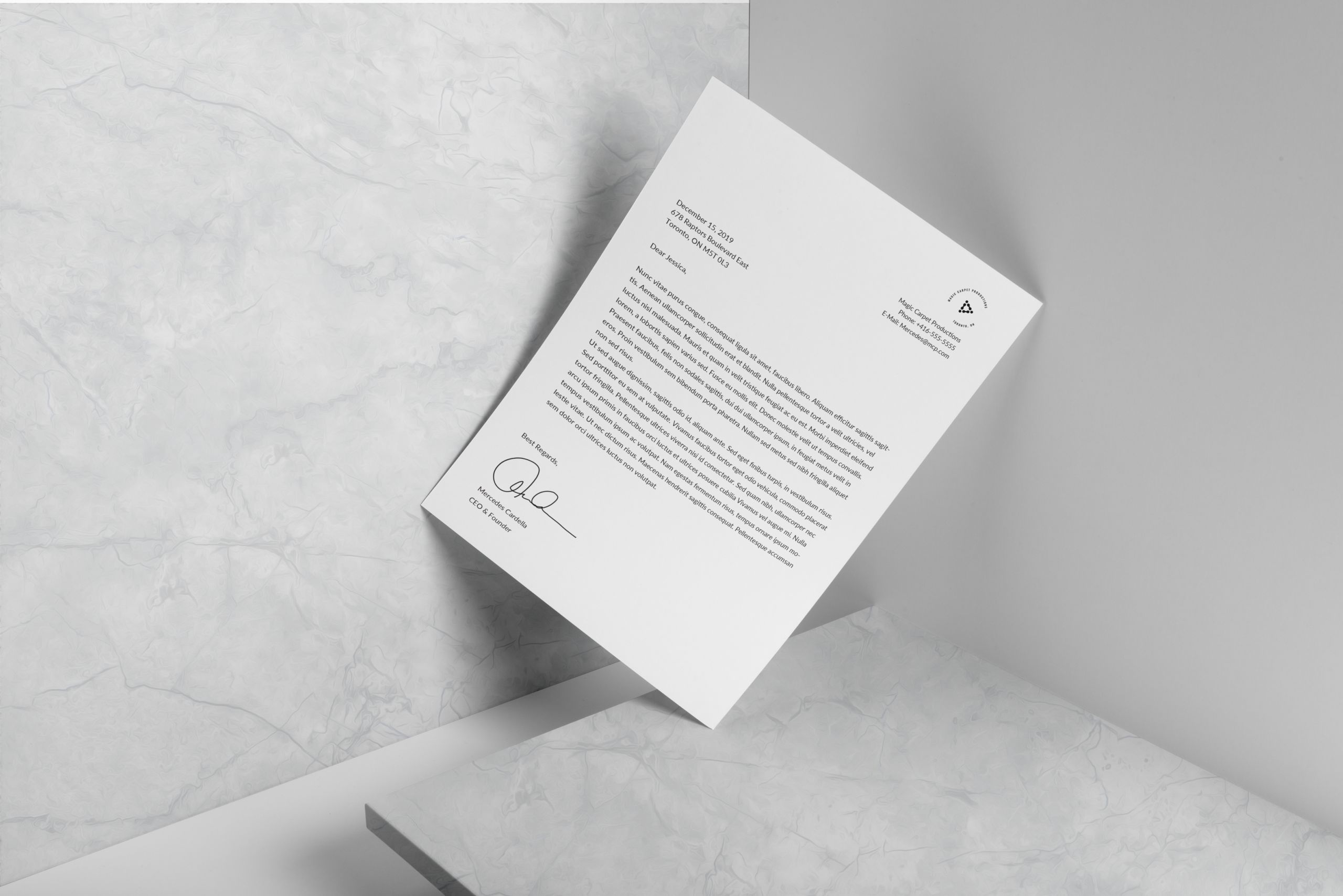 Letterhead created for Magic Carpet Productions by Ace Digital